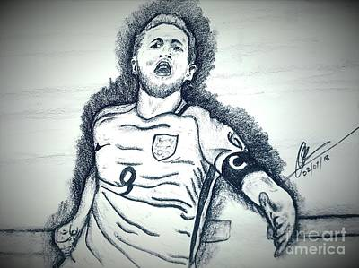 Harry Kane Wall Art - Drawing - Harry Kane by Collin A Clarke