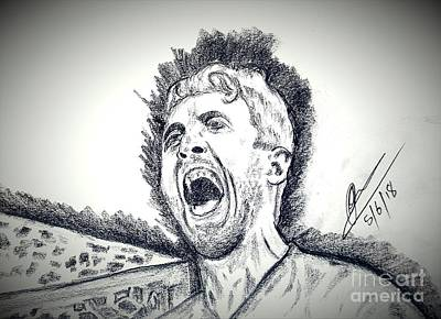 Harry Kane Wall Art - Drawing - Harry Kane Goal Celebration by Collin A Clarke