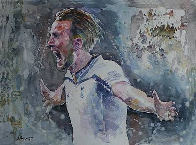 Harry Kane Wall Art - Painting - Harry Kane - Portrait by Baris Kibar