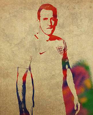 Harry Kane Wall Art - Mixed Media - Harry Kane Watercolor Portrait by Design Turnpike