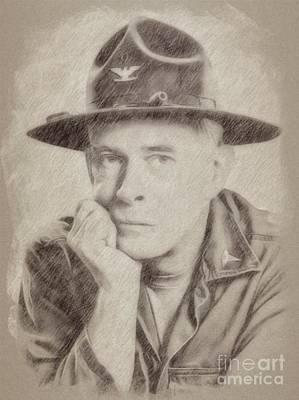 Pinup Drawing - Harry Morgan, Actor, Mash by Frank Falcon