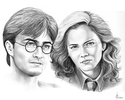 Harry Potter And Hermione Art Print by Murphy Elliott