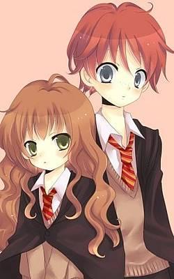 Hermione Granger Digital Art - Harry Potter Hermione Granger Ron Weasley Girl Guy Tie 33693 300x480 by Anne Pool