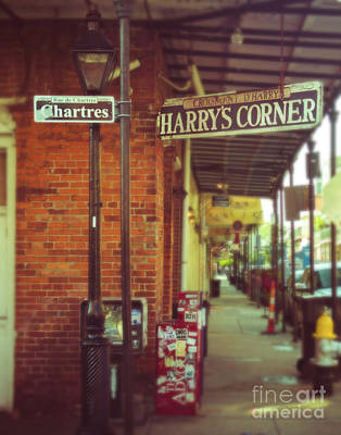 French Signs Photograph - Harrys Corner In New Orleans by Sonja Quintero