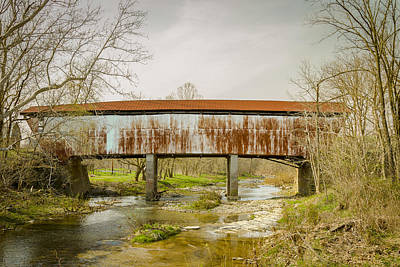Music Royalty-Free and Rights-Managed Images - Harshaville Covered Bridge  by Jack R Perry