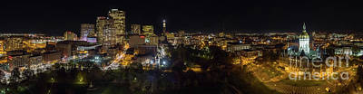 Hartford Ct Aerial Night Panorama Art Print