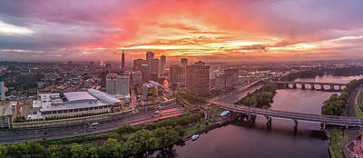 Hartford Ct Downtown Sunset Aerial Panorama Art Print