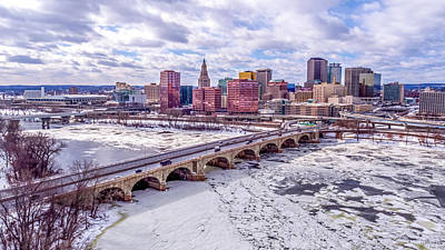 Photograph - Hartford Ct Winter Aerial With Connecticut River And Downtown Skyline by Petr Hejl