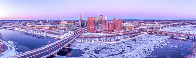 Photograph - Hartford Ct Winter Morning Aerial Drone Panorama by Petr Hejl