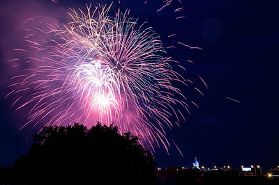 Photograph - Hartford Fireworks Over The Historic Colt Building by Kyle Lee