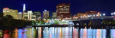 Photograph - Hartford Night Lights Pano by Frozen in Time Fine Art Photography