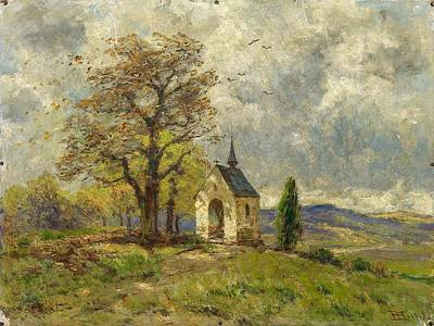 Thomas Kinkade - HARTUNG, HEINRICH Coblenz 1851 - 1919 Chapel near Mertloch in the Eifel. by HARTUNG HEINRICH Coblenz