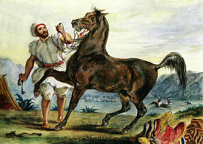 Photograph - Harvard Arab Leading His Horse 1832 by Munir Alawi