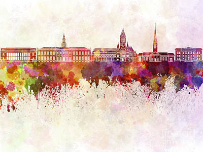 Cambridge University Painting - Harvard Skyline In Watercolor Background by Pablo Romero
