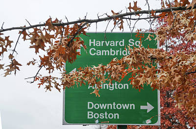 Harvard Photograph - Harvard Square Cambridge Abington Downtown Boston Street Sign by Bill Cannon