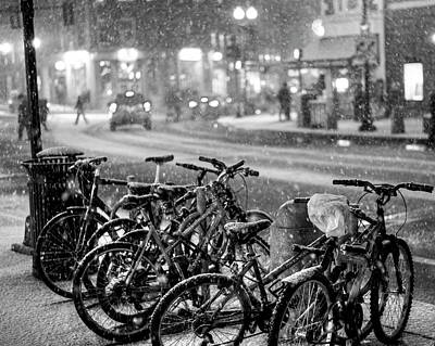 Harvard Square Cambridge Ma Snowy Bicycles Black And White Art Print by Toby McGuire