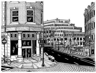 Boston Ma Drawing - Harvard Square by Conor Plunkett
