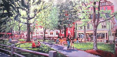 Pi Painting - Harvard Square  Winthrop Park by Sean Moore