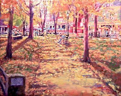 Harvard Square Winthrop Park Seasons Fall Original by Sean Moore