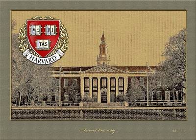 University Photograph - Harvard University Building With Seal by Serge Averbukh