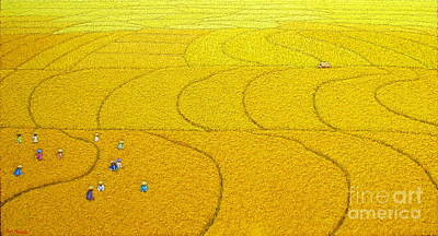 Rice Paddy Painting - Harvest 18 by Sri Martha