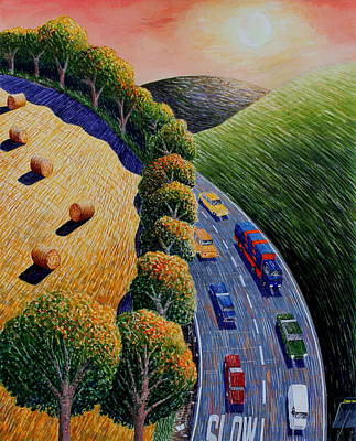 Bales Mixed Media - Harvest And Highway by Adrian Jones