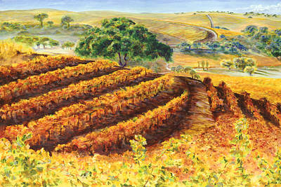 Central Coast Winery Painting - Harvest At Penman Springs by Johnny Butler