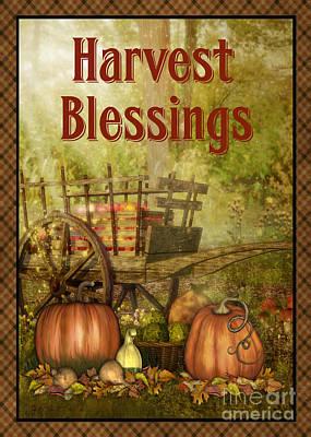 Rust Red Digital Art - Harvest Blessings-jp3130-rec by Jean Plout