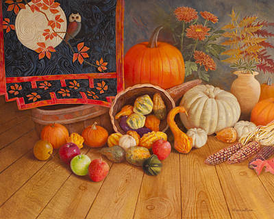 Wall Hanging Quilt Painting - Harvest Bounty by Nancy Lee Moran