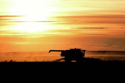 Combine Photograph - Harvest Burn by Todd Klassy
