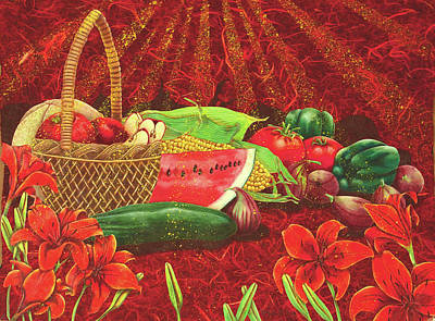 Watermelon Drawing - Harvest Collage by Teresa Frazier
