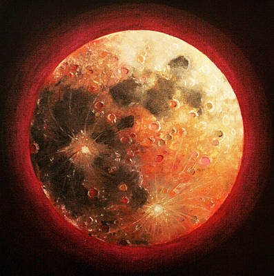 Sacred Feminine Moon Painting - Harvest Full Moon by Shelley Irish