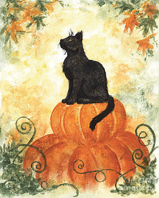 Samhain Painting - Harvest Kitty by Brandy Woods