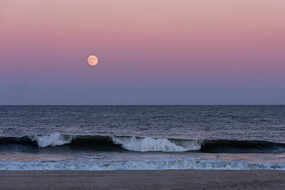 Photograph - Harvest Moon Beach 2017 Seaside Park New Jersey by Terry DeLuco