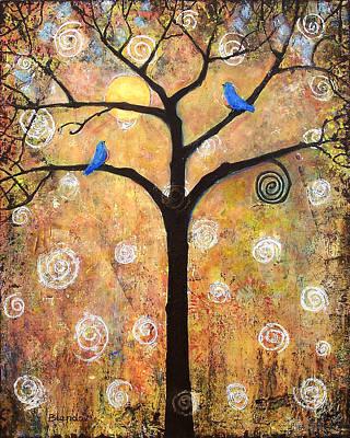 Acrylic Bird Painting - Harvest Moon by Blenda Studio