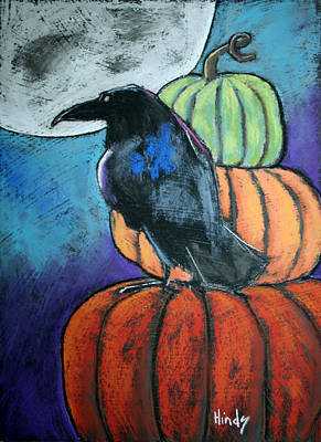 Outsider Art Pastel - Harvest Moon by David Hinds
