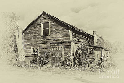 Photograph - Harvest Moon Farm - Sepia by Gene Healy