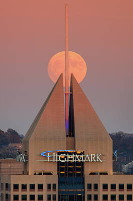 Photograph - Harvest Moon In Pittsburgh  by Emmanuel Panagiotakis