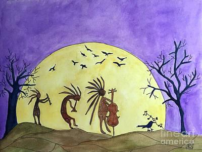 Kokopeli Painting - Harvest Moon Music Jam by Paula Joy Welter