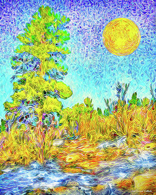 Art Print featuring the digital art Harvest Moon On Crystal Mountain - Boulder County Colorado by Joel Bruce Wallach