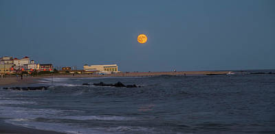 New Jersey Photograph - Harvest Moon Over Cape May by Bill Cannon