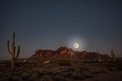 Photograph - Harvest Moon Over Superstition Mountain by Trish VanHousen