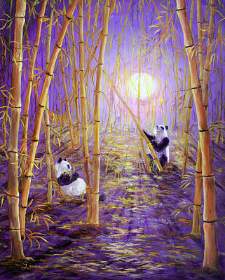 Bamboo Painting - Harvest Moon Pandas  by Laura Iverson