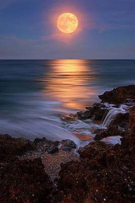 Harvest Moon Rising Over Beach Rocks On Hutchinson Island Florida During Twilight. Art Print