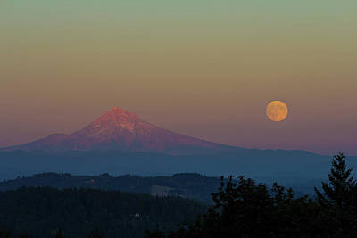 Rural Photograph - Harvest Moon Rising Over Mount Hood After Sunset by David Gn
