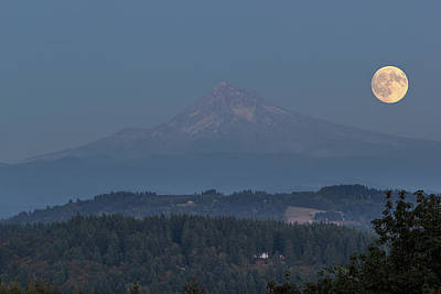 Rural Photograph - Harvest Moon Rising Over Mount Hood by David Gn