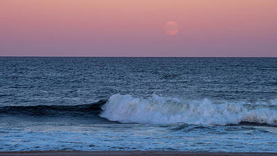 Photograph - Harvest Moon Rising Seaside Nj 2017 by Terry DeLuco
