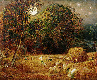 Harvesting Painting - Harvest Moon by Samuel Palmer