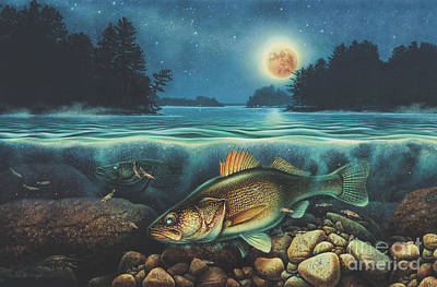 Northern Pike Fish Painting - Harvest Moon Walleye 3 Extended Version by Jon Wright
