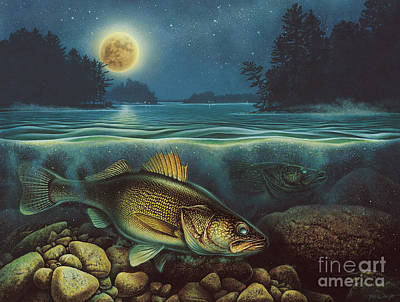 Painting - Harvest Moon Walleye IIi by Jon Q Wright